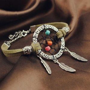 PREVIEW Boho Silver Dreamcatcher Leather Bracelet